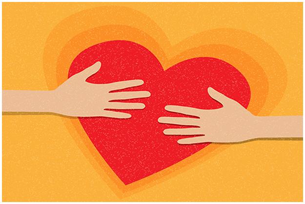 Cartoon Hands Hugging a Heart
